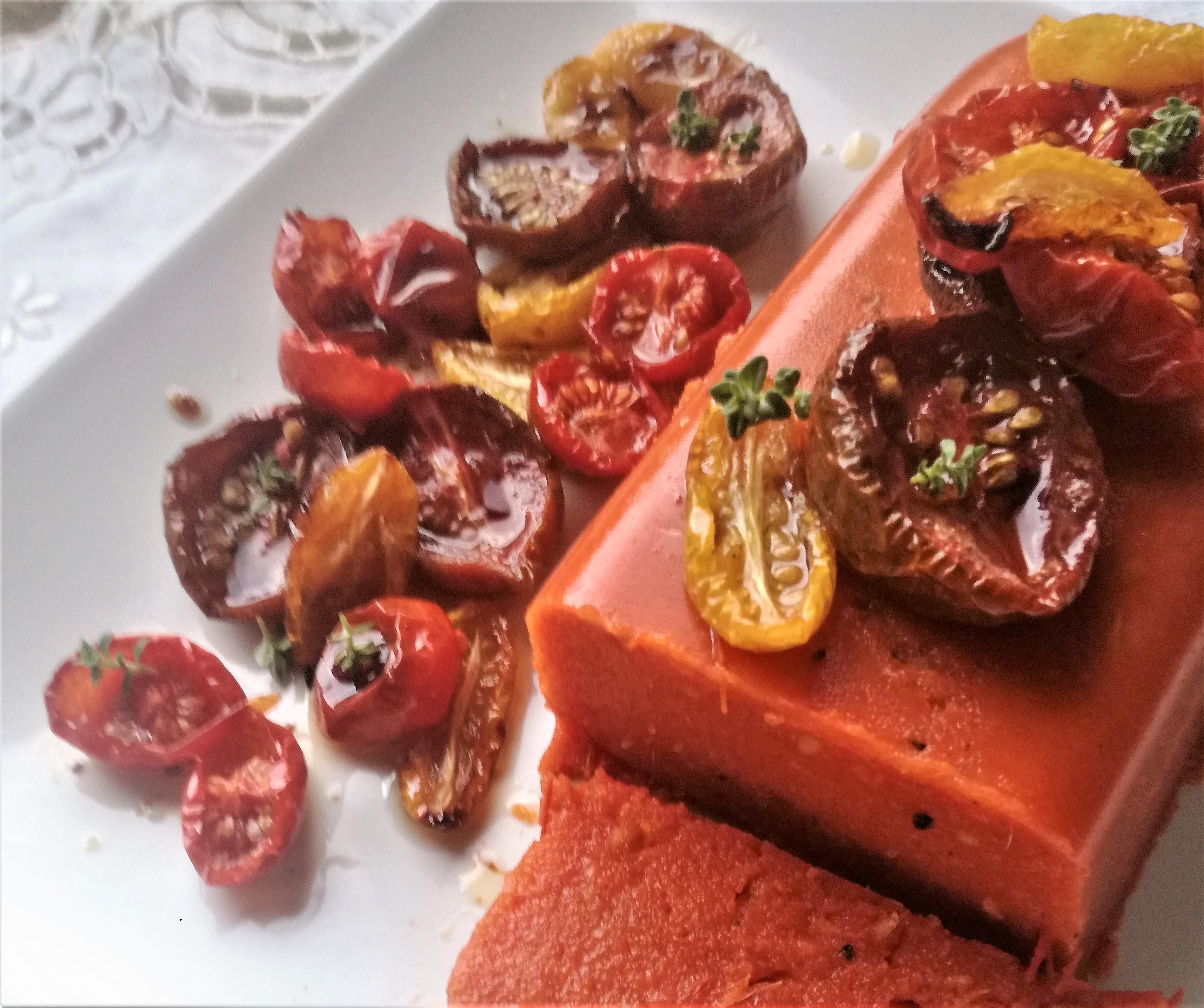 Terrina di pomodori, con pomodorini confit